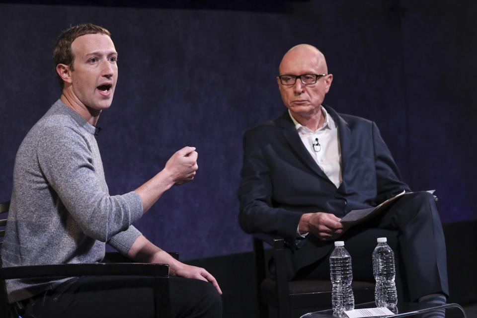 Facebook CEO Mark Zuckerberg And News Corp CEO Robert Thomson together on-stage.