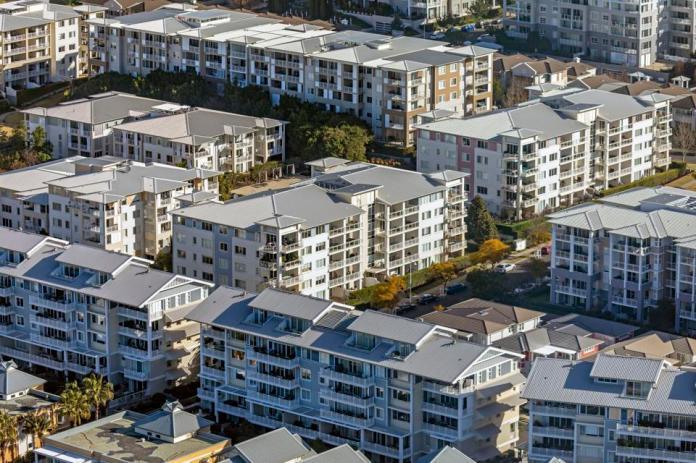 Apartment blocks, residential buildings, suburb, aerial photography Sydney Australia