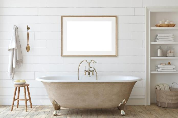 Farmhouse bathroom with shiplap wall. 3d render.