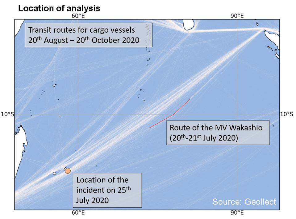 Location of analysis by Geollect, indicating an emergency change of direction to head toward Mauritius