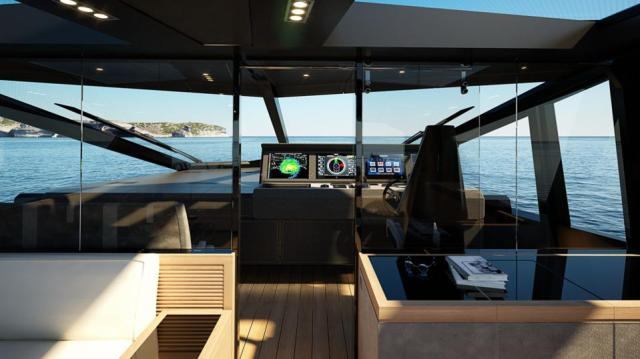 The bridge and sky lounge on the Wally Yachts Why200.
