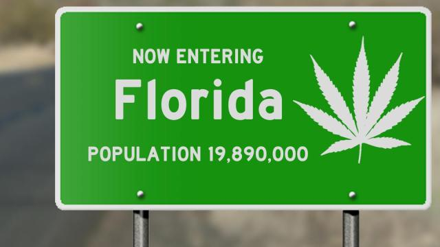 Florida highway sign with marijuana leaf