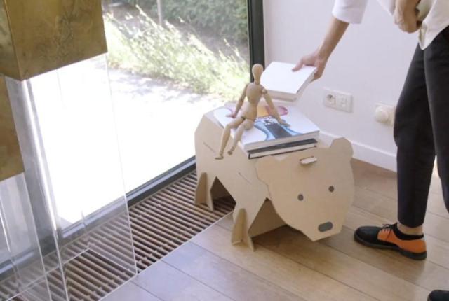 Bear-shaped table made of cardboard