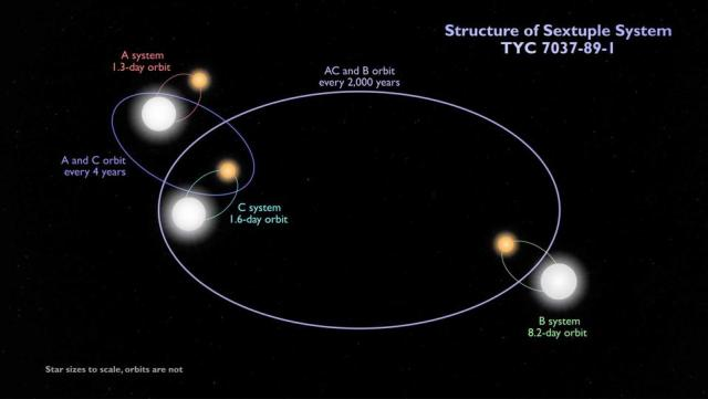 The schematic diagram shows the configuration of the six-star system TYC 7037-89-1. The internal quad is composed of two binary files A and C, which revolve around each other every four years or so. The outer binary B rotates four times approximately every 2,000 years. All three pairs are bleak binary files. The track shown is not drawn to scale.