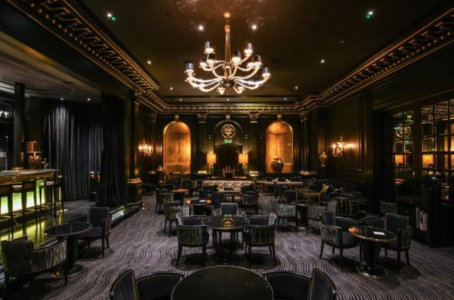 The lavish Beaufort Bar at The Savoy Hotel in London.