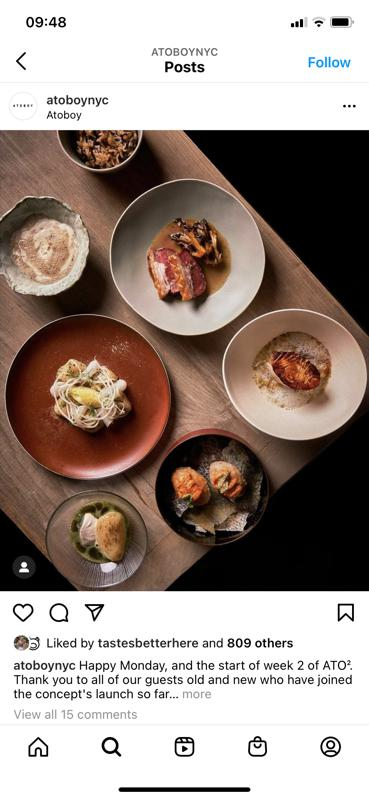 little plates filled with courses from Atoboy in NYC