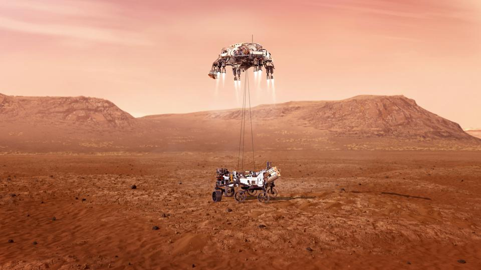 An illustration of NASA's Perseverance rover landing safely on Mars. Hundreds of critical events must execute perfectly and exactly on time for the rover to land safely on Feb. 18, 2021.