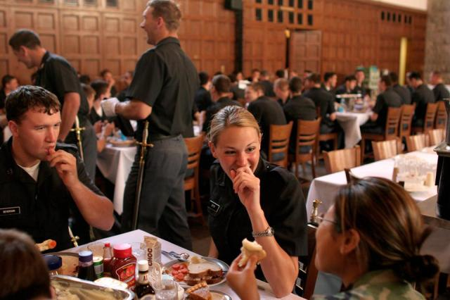 West Point Cadets Eating in the Mess Hall