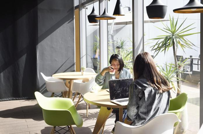 Women working together in a coworking office