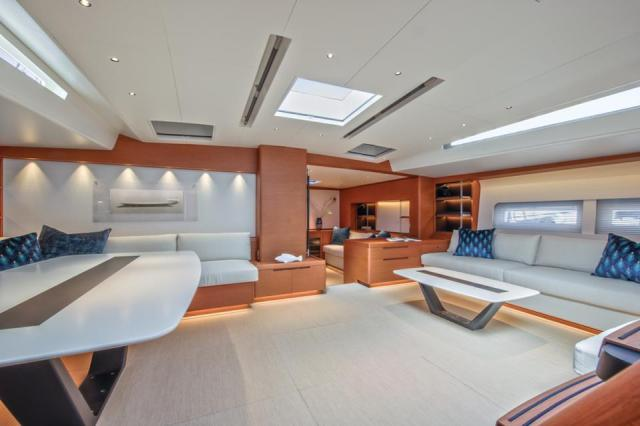 The main saloon onboard Morgana defines modern luxury.