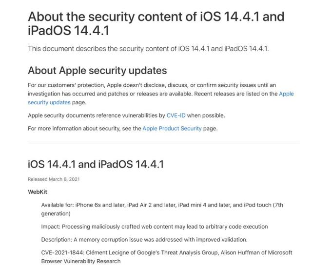 Full advice from Apple about why iOS 14.4.1 is important.