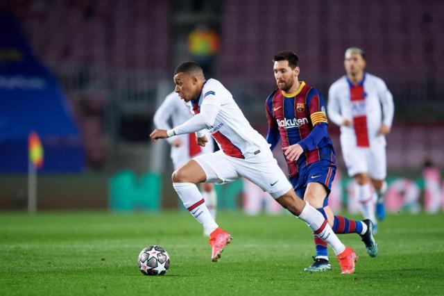 Lionel Messi will look to get the better of Kylian Mbappe in the Champions League.