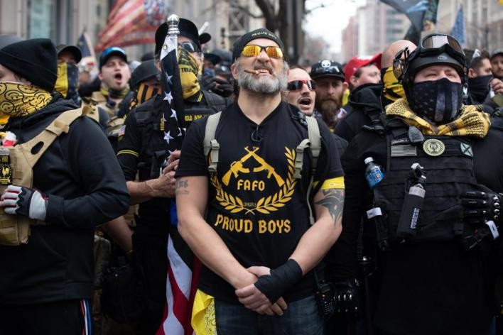 WASHINGTON,DC-DEC12: Proud Boys march in support of President D