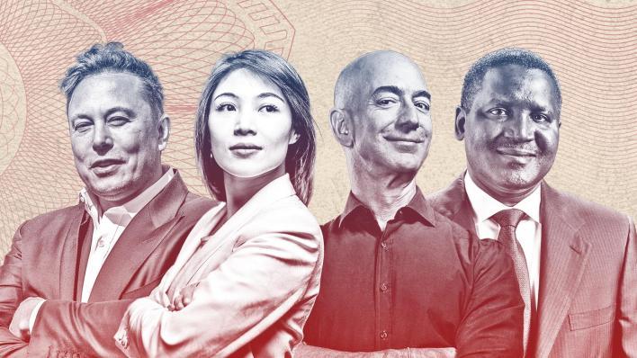 Images of Four billionaires: Elon Musk, China's Kate Wang, Jeff Bezos, Aliko Dangote.