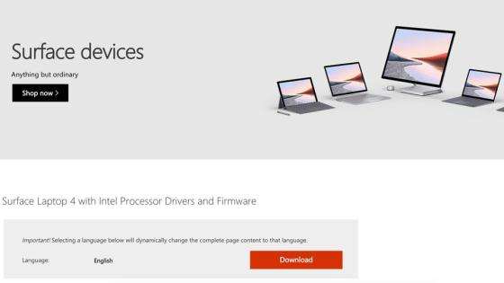 Microsoft Driver Support Website Surface Laptop 4.