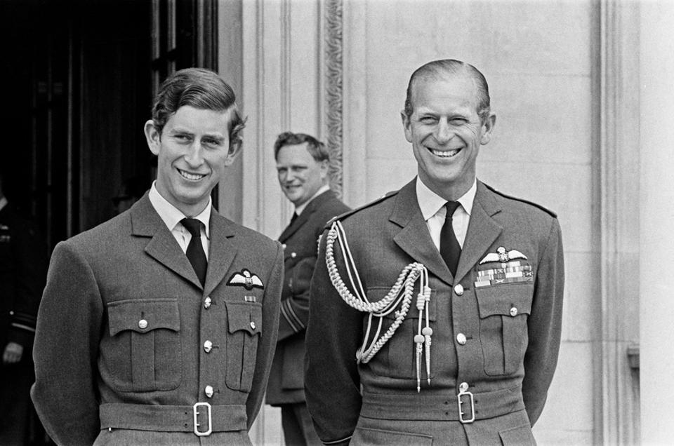 Prince Charles and his father Prince Philip in AF uniform at a passing out parade 1971