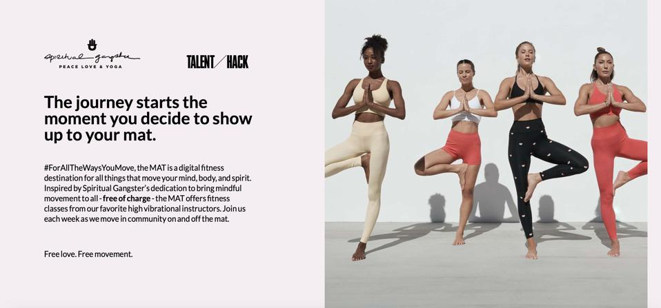 Screen grab of the Victoria's Secret and Talent Hack fitness customer experience The Mat classes