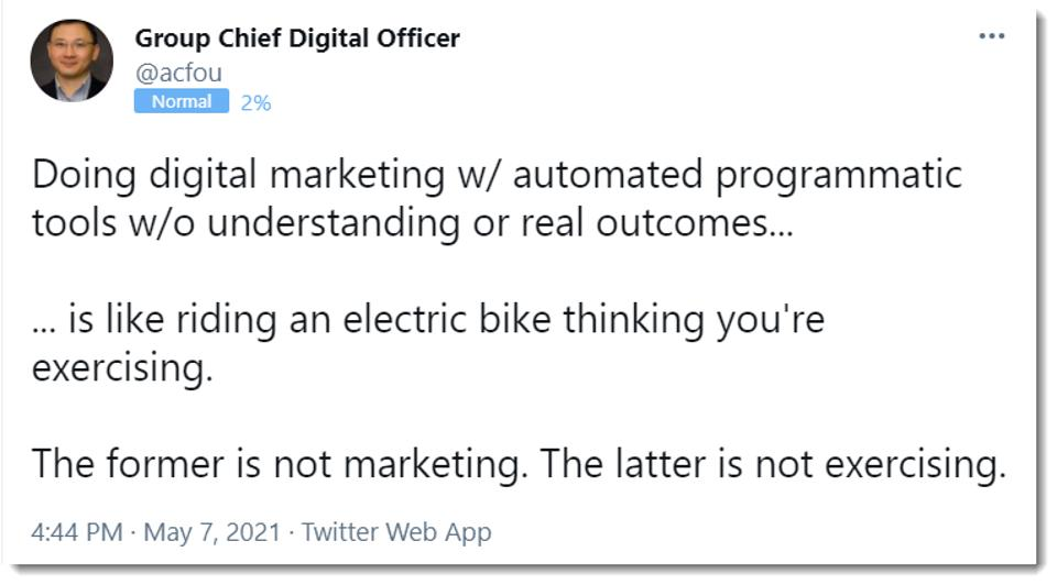 Tweet: ″The former is not marketing; the latter is not exercising″