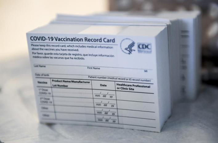 COVID-19 Vaccination cards from CDC