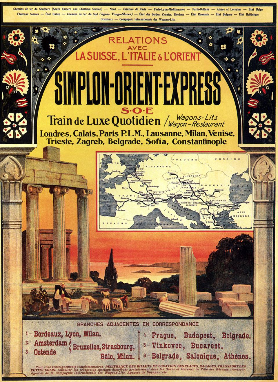 Poster for the luxury train Simplon Orient-Express linking London to Constantinople via Calais, Paris, Lausanne, Milan, Venise, Trieste, Zagreb, Belgrade and Sofia, the sleepers International Compagny (India Mail) , 20's