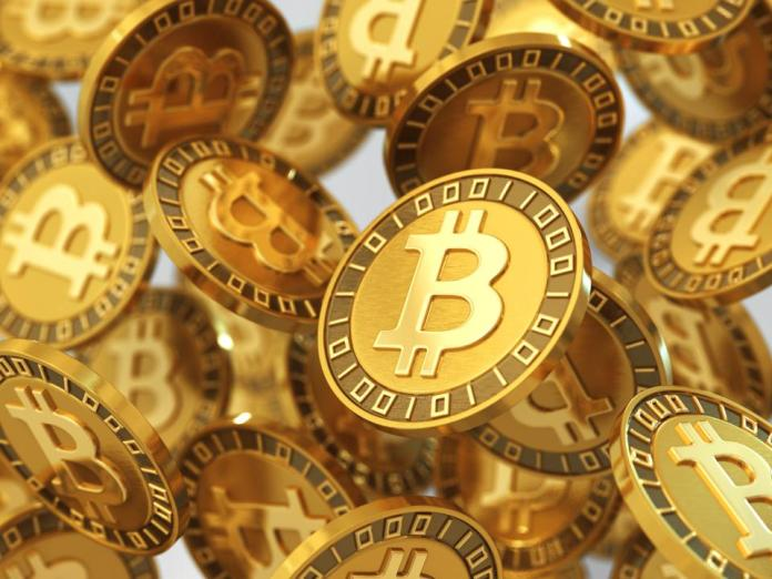 Several units of bitcoin, a digital currency.