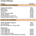 Gelato Accessories Price List