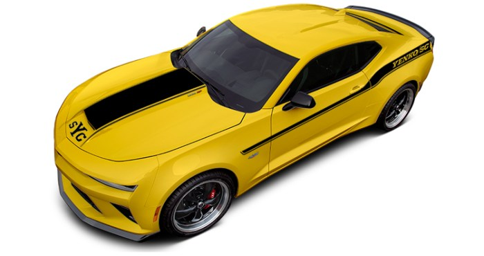 2018 Yenko Camaro Bright Yellow with Flat Black Stripes