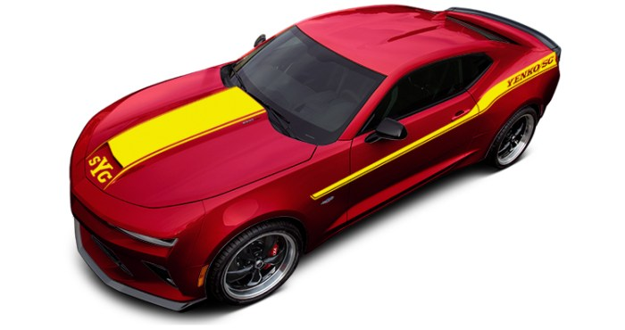 2018 Yenko Camaro Garnet Red Tint Coat with Yellow Stripes