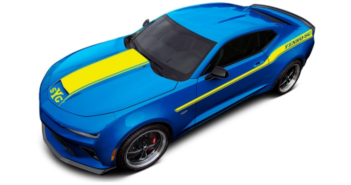 2018 Yenko Camaro Hyper Blue Metallic with Yellow Stripes
