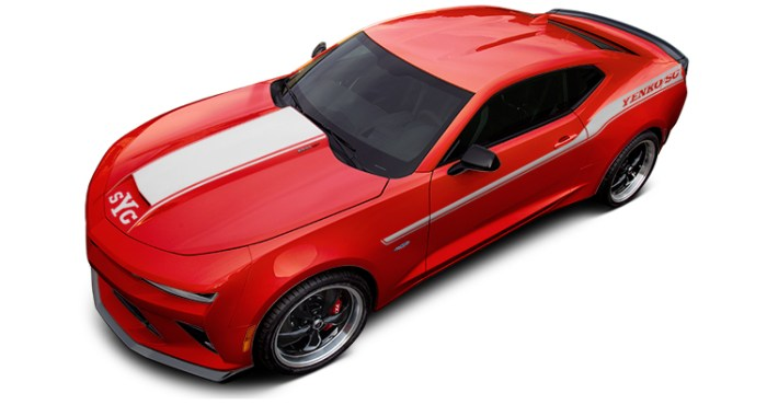 2018 Yenko Camaro Red Hot with Silver Stripes