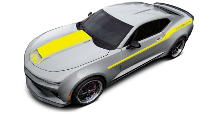 2018 Yenko Camaro Silver Ice Metallic with Yellow Stripes
