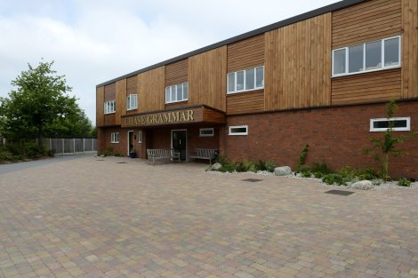 Brett Landscaping's Omega, and Alpha Antique in Autumn gold create a two-type paving scheme which has been project managed by Mark Ellse, Headteacher at Chase Grammar School in Cannock.