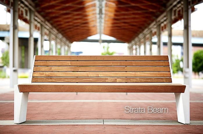Bailey Artform expands its portfolio of cast concrete site furniture with the STRATA Beam Bench