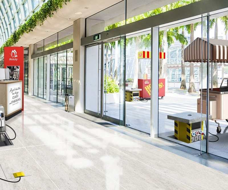 Innovative power solutions for stalls and booths in outdoor areas within shopping centres