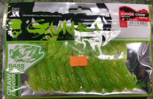 Gunki Boogie Craws 3'' Lime Chart 10 pack