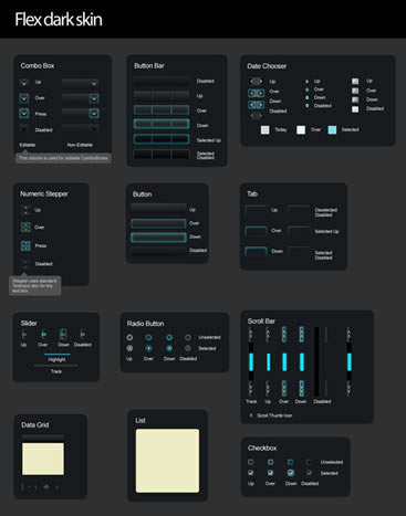 Flex Darkskin UI (.psd)