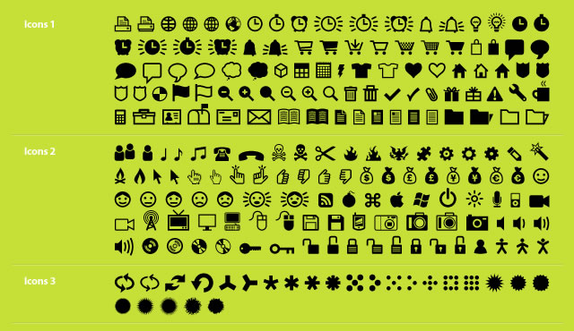 ClickBits Web Icon & Dingbat System @fontface font