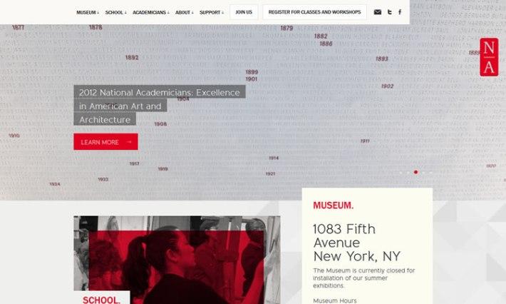 National Academy Museum content heavy web design Inspiration