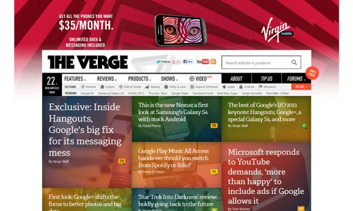 content heavy websites The Verge Inspiration