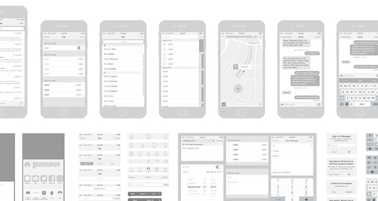 iPhone 6 Vector Wireframing Toolkit illustrator ios iphone ipad mobile app free wireframe kit template UI design