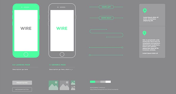 Simple sketch ios iphone ipad mobile app free wireframe kit template UI design
