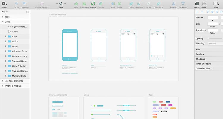 wz sketch multi-purpose general mobile app free wireframe kit template UI design