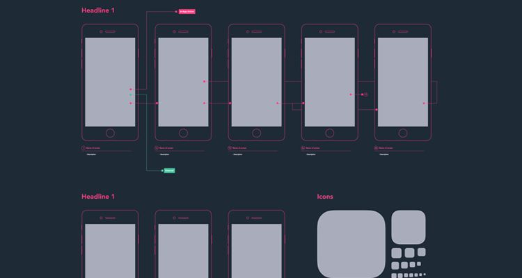50 Free Wireframe Templates for Mobile  Web and UX Design Mobile Diagram sketch ux flowchart userflow development free wireframe kit  template UI design