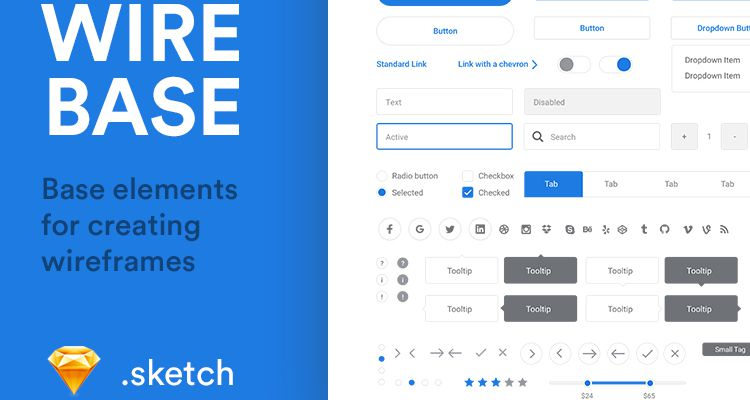 Wirebase Base Elements sketch web design development free wireframe kit template UI design