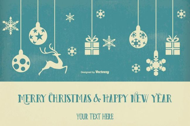 Vintage Retro Style Christmas & New Year Illustration vacaciones gratis