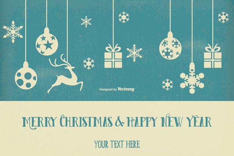 Vintage Retro Style Christmas & New Year Illustration vacaciones gratis