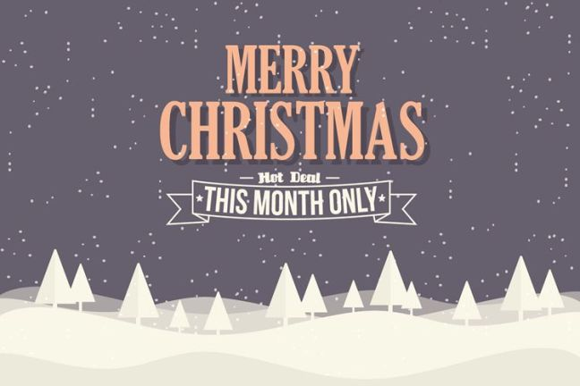 Ilustración de fondo de eCommerce de Navidad con vacaciones tipográficas gratis