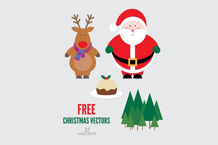 Santa Reindeer Christmas Pudding Vectors vacaciones gratis
