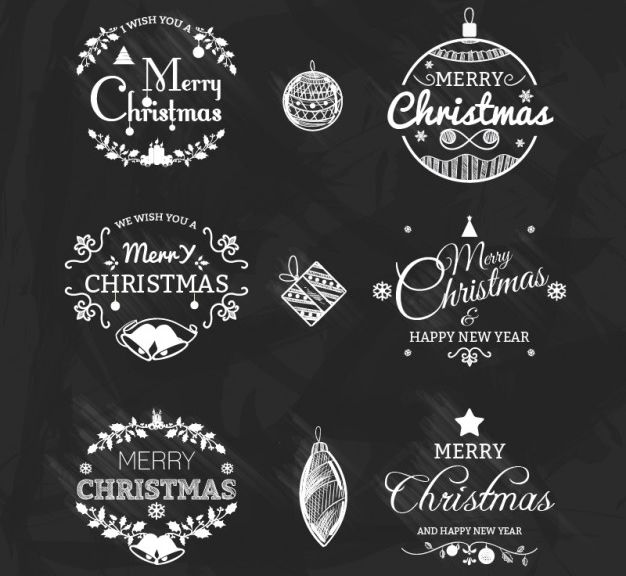 Black and White Vector Christmas Badges Pack free holidays
