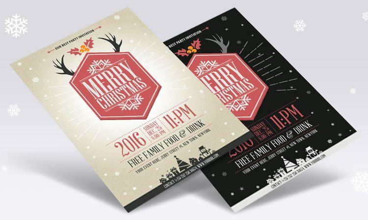 Vector Vintage Party Christmas Flyer Template vacaciones gratis